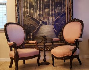 Victorian Era Hand Carved Antique French Regal Antique Furniture throne chairs for Sale in Windermere, FL