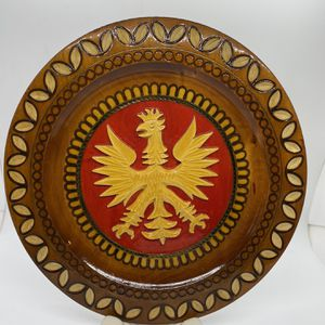 Vintage Carved Wood Polish Eagle Plate, lathe turned, carved raised eagle, signed, decorative plate, folk art, wall hanging, wooden plate for Sale in Bolton, CT