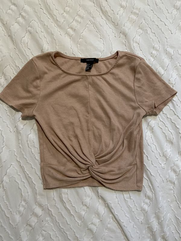 Forever21 beige twist-front top