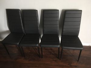 Brand new set of 4 chairs black / black chairs / black dining chairs (price is firm) NEW IN BOX for Sale in Helotes, TX