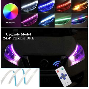 OONOL 2Pcs 24 Inch Flexible Multicolor LED Car Headlight Strip Lights Waterproof Daytime Running Lights Strip RGB DRL Turn Signal Lights Switchback L for Sale in Chicago, IL