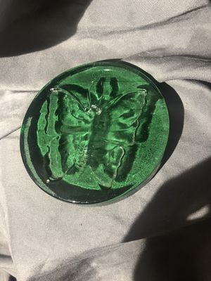 Green paper weight with butterfly imprint for Sale in Fresno, CA