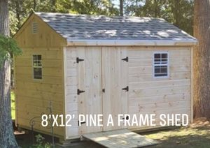 New 8' x 12' Pine A Frame Shed with 2 Windows for Sale in Stow, MA