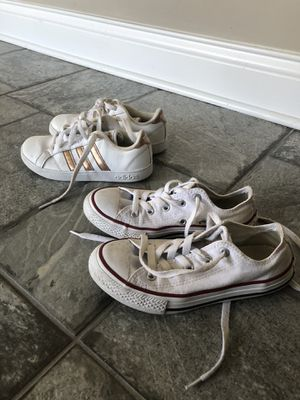 Adidas and converse white kids shoes for Sale in Melrose Park, IL