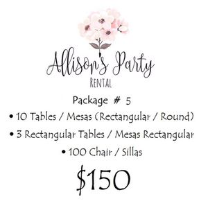 Party Package Rental - Chair and Tables for Sale in Hialeah, FL