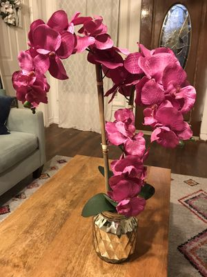 Faux orchid arrangement and flower decor for Sale in Garland, TX