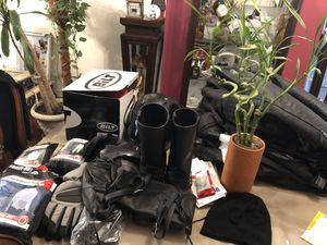 Motorcycle gloves Accessories overall and jacket and helmet for Sale in Philadelphia, PA