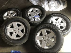 275/55/17 Jeep Wrangler wheels an tires for Sale in Orange, CA