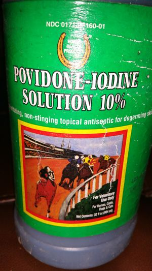 POVIDONE-IODINE 10% SOLUTION 32OZ BY HORSE HEALTH, 6 BOTTLES, EXPIERD NEVER OPENED, $5 A BOTTLE, 6 AVAILABLE for Sale in Hampton, VA