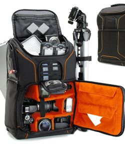USA GEAR DSLR Camera Backpack Case (Orange) - 15.6 inch Laptop Compartment, Padded Custom Dividers, Tripod Holder, Rain Cover, Long-Lasting Durability for Sale in Fullerton,  CA