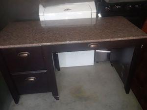 Real wood granite top desk for Sale in North Las Vegas, NV