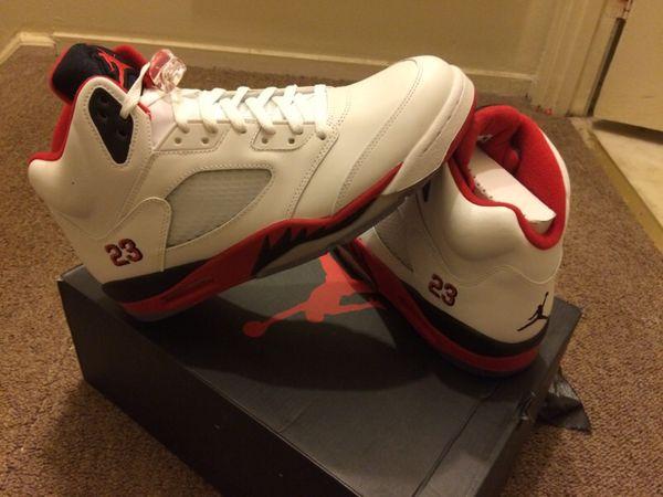 Retro Air Jordan 5's Fire Red w/ #23, Black Tongue