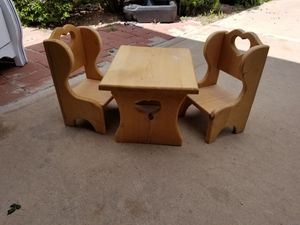 Cute wood mini table and chairs great for dolls kid child play collector display and more 14W x 11D x 9H chair 8W x 7D x 13H for Sale in Chandler, AZ