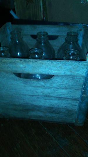 Antique Borden milk crate and 6 original milk bottles. for Sale in Houston, TX