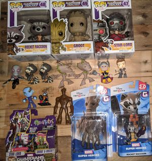 Guardians of the Galaxy toy lot Funko Pop groot rocket raccon starlord Disney infinity minimates and mystery minis for Sale in Gig Harbor, WA