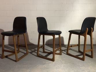 Mid Century Modern Style Bar Height Teak And Black Bar Stool Chairs for Sale in Irvine,  CA