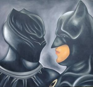 Stretched Black Panther vs Batman painting #3 canvas for Sale in Washington, DC