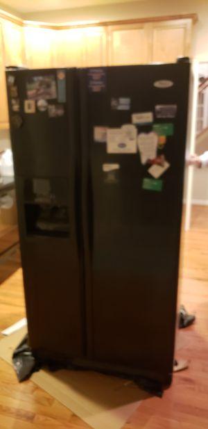 Black whirlpool fridge for Sale in Gambrills, MD