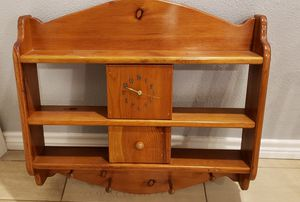 Wooden shelf with clock for Sale in Deweyville, TX