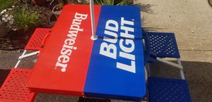 Budweiser/budlight beach party picnic table with umbrella for Sale in WISC RAPIDS, WI