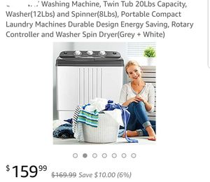 Washing Machine, Twin Tub 20Lbs Capacity, for Sale in Riverside, CA