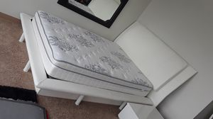 White leather bed for Sale in Detroit, MI