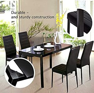Brand new black dining room table set with 4 chairs in box for Sale in Fort Lauderdale, FL