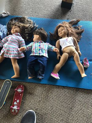 2 American Girl doll dolls and one american boy doll clothes for Sale in San Jose, CA