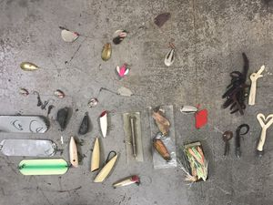Lot of large fishing gear (weights, lures, flashers, hooks) for Sale in Edgewood, WA