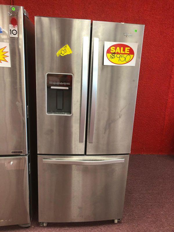 French door refrigerator whirlpool, stainless steel, brand new