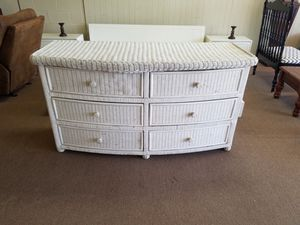 Dresser chest of drawers wicker and wood for Sale in Tulsa, OK