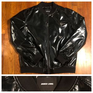 Men's Jared Lang paid $600 size XXL (fits like XL) Patent Leather Bomber jacket. Excellent condition never worn! Great jacket for Sale in Washington, DC