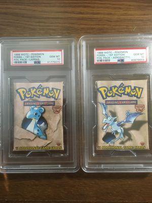2 PSA 10 GEM MINT: Pokemon 1st Edition Fossil Foil Packs for Sale in Frederick, MD
