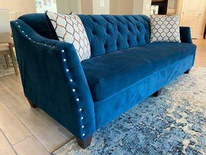 """Upholstered Nailhead Blue Velvet Sofa / Couch 87"""" - BRAND NEW for Sale in Glendale, AZ"""