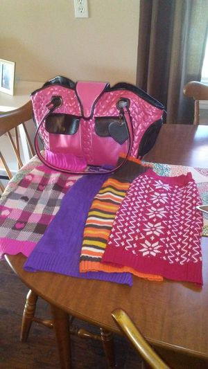 Lulupink Dog Carrier, 4 sweaters for Sale in New Albany, IN