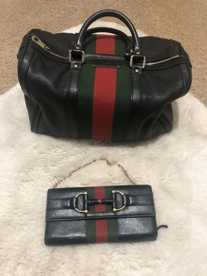Gucci Leather Web Boston Bag & Gucci Horsebit Web Chain Wallet for Sale in Bloomingdale, IL