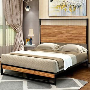 (Free Delivery) Twin Size Metal Frame Bed Platform Wooden Slat Support with Headboard for Sale in Toms River, NJ