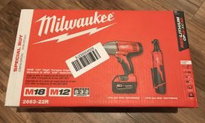 """Brand New - Milwaukee 2663-22R M18 1/2"""" High Torque Impact Wrench & M12 3/8"""" Ratchet for Sale in Livermore, CA"""