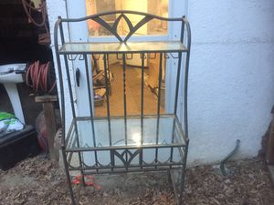 Bakers glass shelf with wine rack for Sale in Petersburg, VA
