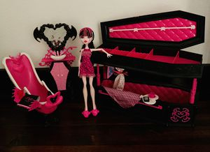 Used, Monster High Deluxe Coffin Bed, Dead Tired Doll & Powder Room Playset Lot for Sale for sale  California City, CA