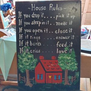 Hand-painted Slate House Rules for Sale in Crewe, VA