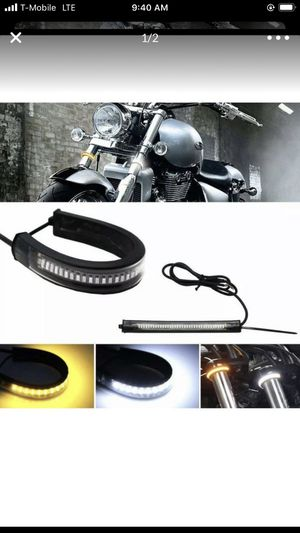 2pcs Switchback W/A LED Fork Turn Signal Daytime Fit Motorcycle DRL Light Strips new for Sale in Champlin, MN