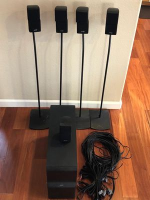 Bose Accoustimass 10 series 5 Home theater speaker system with 4 standing Bose speaker stands and a Sony Receiver. for Sale in Union City, CA