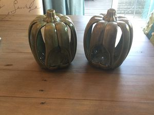 Set of 2 Pottery Barn Green Ceramic Glass Pumpkin Candle Holders for Sale in Orange, CA