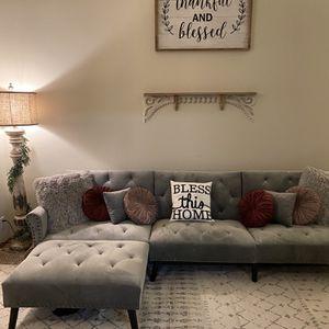 """115"""" Velvet Reversible Sleeper Sofa & Chaise for Sale in Beaverton, OR"""