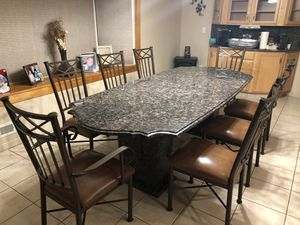 Beautiful custom made granite dining table and chairs for Sale in Paterson, NJ