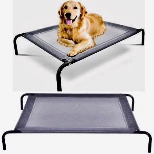 New Large Dog Cat Bed Steel Frame Textile Mat Indoor Outdoor Camping Raised Bed Hammock 44x32x7 inches