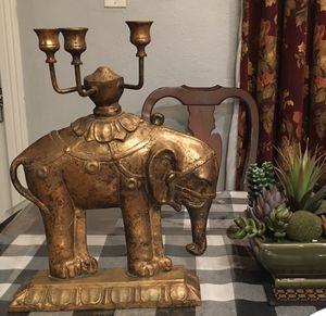 Vintage Candelabra Elephant Candle Holder - Gold for Sale in Artesia, CA