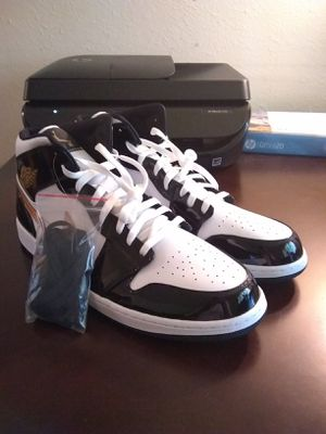 Nike Air Jordan 1 Mid SE Patent Leather Black Gold White 852542-007 size 17 for Sale in Montgomery, AL