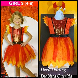 DEVIL DARLING GIRLS/DIABLITA QUERIDA COSTUME/DISFRAZ SM (4-6) for Sale in Placentia, CA